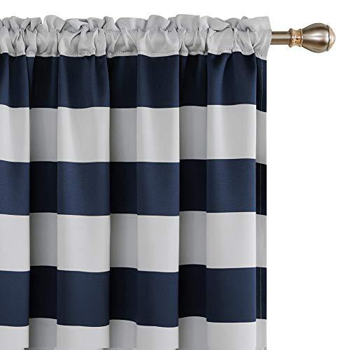 Deconovo Navy Blue Striped Room Darkening Curtains Rod Pocket Nautical Navy and Greyish White Striped Curtains for Kids Room 52W X 95L Navy Blue 2 Panels