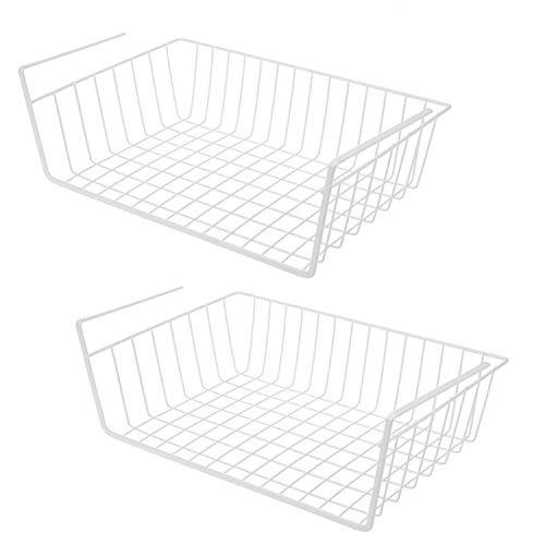 Z-synka 2er Set Metall Tackable Hanging Baskets,Unter Regal Ablagekorb,Eisengitter Ablagekorb Schrank für Küche,Büro,Speisekammer,Schrank,Badezimmer,Weiß
