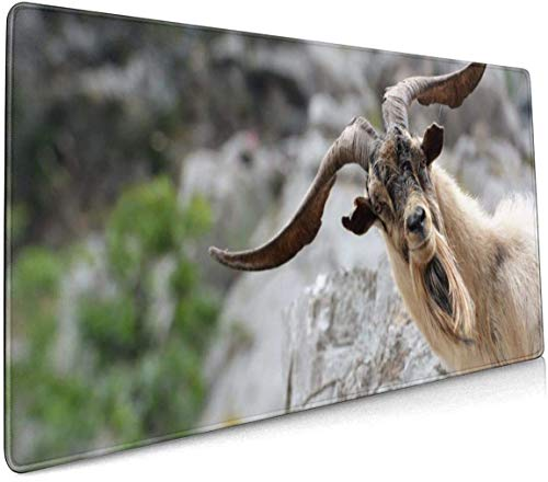 Goat Horns Professional Large Mouse Pad Keyboard Pad Long Extended Multipurpose Computer Game Mouse Mat 35.4x15.7 Inch