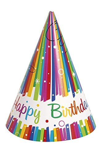 Rainbow Ribbons Birthday Party Hats, Pack of 8