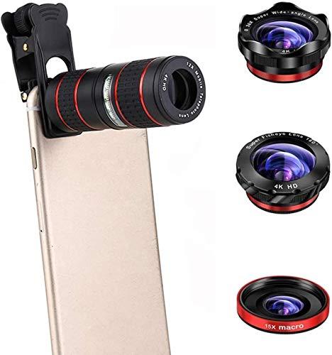 Kit de lentes de cámara para teléfono celular 5 en 1, con lente gran angular + lente macro + lente ojo de pez + lente de zoom telefoto 12x, compatible con iPhone Samsung y otros teléfonos inteligentes