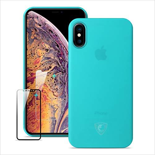 Funda iPhone Xs, Ultra delgada y ligera totalmente envuelta ,Funda iPhone Xs, iPhone Xs Funda delgada con pantalla de cristal templado gratis Protector