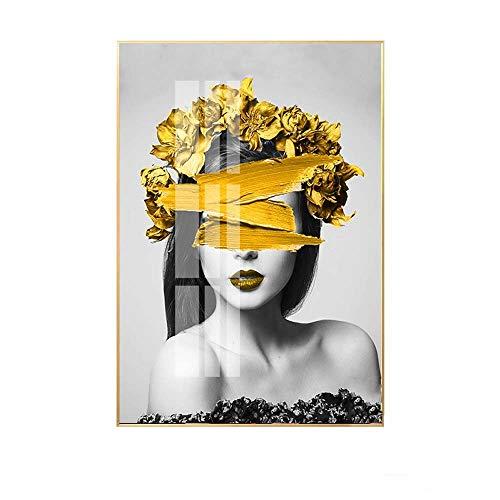 Colgando Pintura Simple Creatividad moderna Personalidad Flor amarilla Carácter Micro Spray Marco...