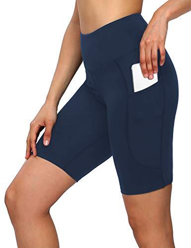 MOVE BEYOND 8'' Pantalones Cortos Deportivo para Mujer con 2 Bolsillos Laterales Cintura Alta para Yoga Correr Ejercicio, Azul Marino, XL