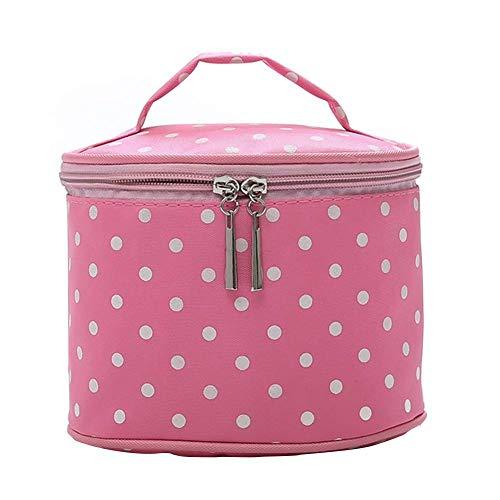Bolsa de maquillaje Fliyeong, portátil, de viaje, vintage, nailon, diseño de lunares, redondo,...