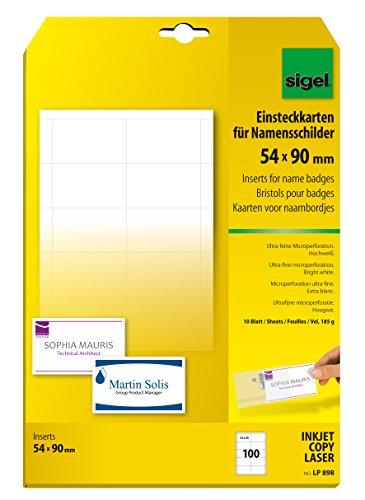 SIGEL LP898 Einsteckkarten für Namensschilder weiß, 54x90 mm (A4), 100 Stück