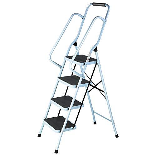 Femor Escalera Plegable de 4 Peldaños, Escalera Portátil Multiusos de Acero con Pedal Antideslizante de 27cm, Pasamanos, Pies de Goma Antideslizantes, para Hogar y Oficina