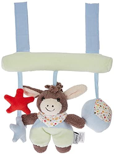 Sterntaler Spielzeug zum Aufhängen mit Klettverschluss, Esel Emmi, Inklusive Rassel, Alter: Für Babys ab der Geburt, Beige/Hellblau