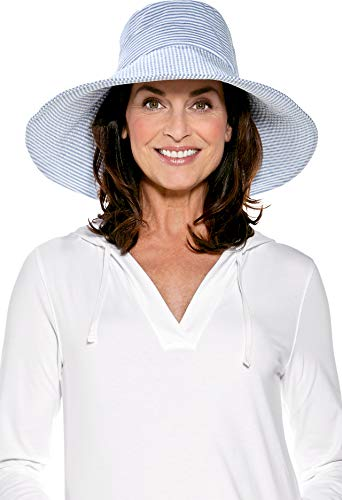 Coolibar UPF 50+ Women's Brittany Beach Hat - Sun Protective (One Size- Ivory/Chambray Small Stripe)