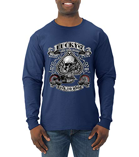 Lucky 7 Live to Ride Bikes Booze Broads USA Est 1903 | Mens Fashion Long Sleeve T-Shirt, Navy, 3XL