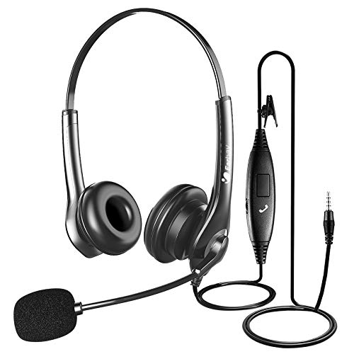 Computer Headset with Microphone Noise Cancelling, 3.5MM Lightweight Call Center Headphones, Retractable Mic Wired PC Headphones with Inline Control, for Business Skype Office