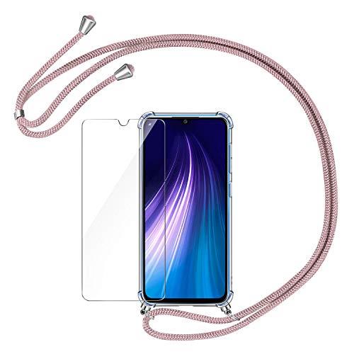 AROYI Funda con Cuerda Compatible con Xiaomi Redmi Note 8 y Protector Pantalla, Carcasa Transparente TPU Silicona Case con Colgante Ajustable Cordón Compatible con Xiaomi Redmi Note 8, Oro Rosa