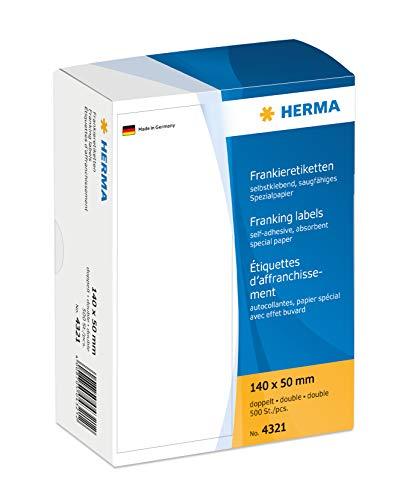 HERMA 4321 Frankieretiketten für Frankiermaschinen, doppelt (140 x 50 mm, Spezialpapier, matt) selbstklebend, permanent haftend, 500 Etiketten, weiß