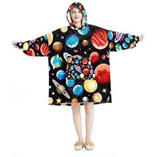 Sudadera con capucha para mujer, cómoda para el hogar, chándal relajado, con espacio cálido, astronauta cohete