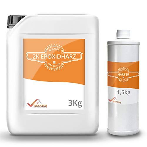 BEKATEQ BK-400EP 2K Epoxidharz 4,5 kg Bodenbeschichtung zur Versiegelung & Grundierung für außen & innen │ für Garagenboden, Werkstatt- & Industrieboden │ Flüssigkunststoff als Gießharz zum Füllen
