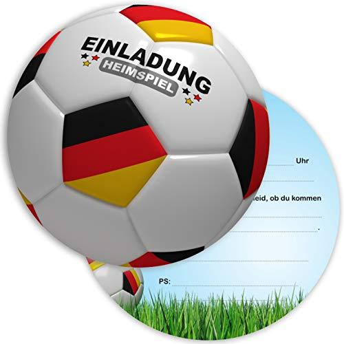 Ligano 8 Fußball Einladungskarten Kindergeburtstag - Geburtstagseinladungen für Kinder - Fussball rund (Deutschland)