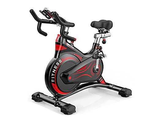 Bicicleta estática de resistencia magnética resistencia regulable, Bici de entrenamiento fitness con sillín ajustable, pulsómetro y pantalla LCD (Negro)