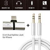 OM - Adattatore per cuffie per iPhone, adattatore audio per iPhone11pro/8/8P/7P/XS/XR, 2 in 1, cavo per collegamento audio AUX, supporto iOSMini, colore: argento