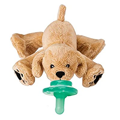 Nookums Paci-Plushies Buddies - Retriever Pacifier Holder - Adapts to Name Brand Pacifiers, Suitable for All Ages, Plush Toy Includes Detachable Pacifier