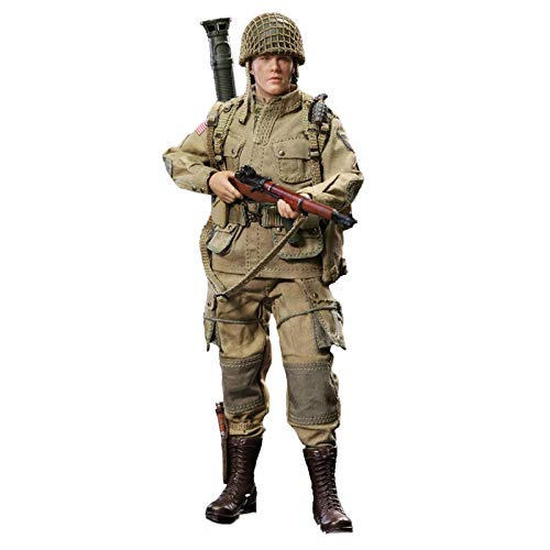 MXUS 1/12 World War II Paratrooper Action Figures Environmental Protection PVC Toy Statue, The Best Gift for Halloween, Christmas And Thanksgiving