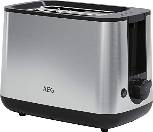 AEG T3-1-3ST Toaster (7 Bräunungsstufen, inkl. Brötchenaufsatz, Stoppen, Aufbacken, Auftauen, tiefe, breite Schlitze, Lift-System, alle Brotsorten, Krümelschublade, auto. Zentrierung, Edelstahl)
