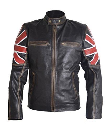 Classyak Hombres de Moda Estilo Vintage Bandera de Reino Unido Cafe Racer Estilo Chaqueta de Piel de Vaca Negro Cow Black XX-Large