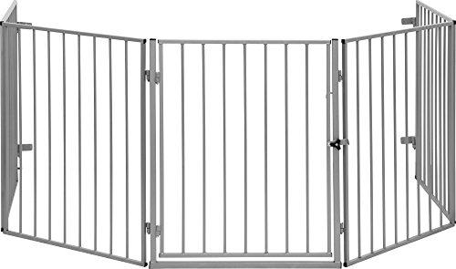 ib style® CATO | Kaminschutzgitter | erweiterbar | Doppelverschluss | 5tlg/300cm Silber