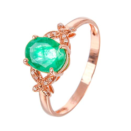 AueDsa Anillos Oro Rosa Verde Anillos Compromiso Mujer Oro Rosa 18K Oro Rosa Verde Oval Mariposa Esmeralda Verde Anillo Talla 21