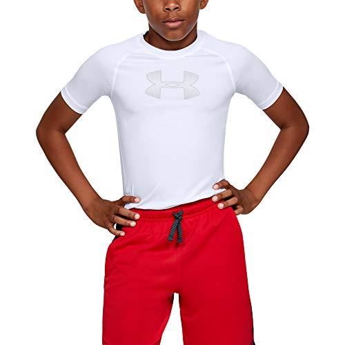 Under Armour Boys' HeatGear Armour Short Sleeve T-Shirt , White (101)/Mod Gray , Youth Small