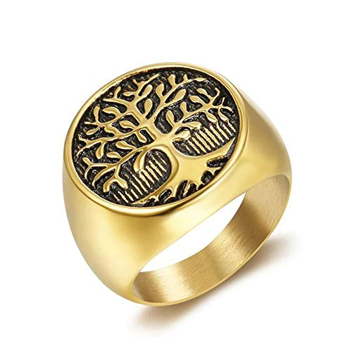 ZiFei Rings,Stainless Steel Tree of Life,Classic Viking Man Rings Amulet Nordic Jewelry,Gold,9