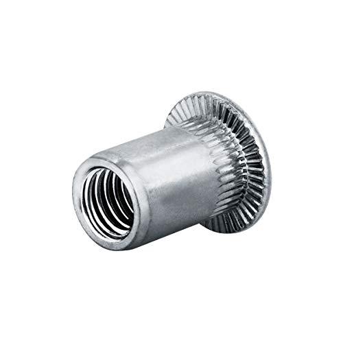 GOEBEL® - 250 unidades – Tuerca remachadora M4 de aluminio, cabeza redonda...