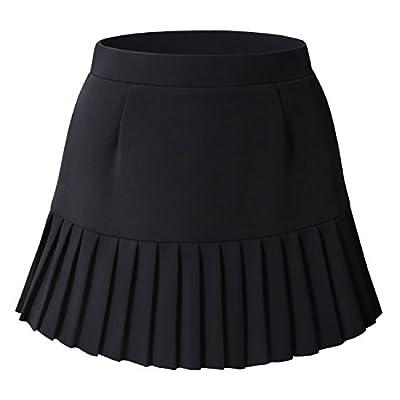 Bulotus Women Casual Mini Skirt Pleated Flare Skater Short Skirt for Juniors
