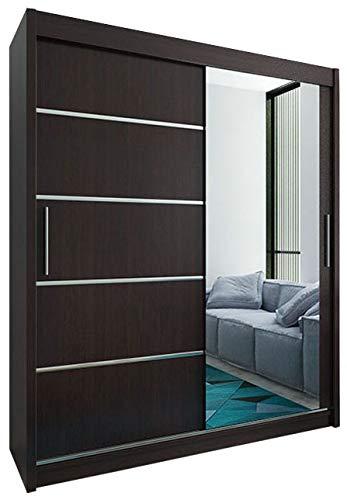 Kryspol Schwebetürenschrank Verona 2-180 cm mit Spiegel Kleiderschrank mit Kleiderstange und Einlegeboden Schlafzimmer- Wohnzimmerschrank Schiebetüren Modern Design (Wenge)