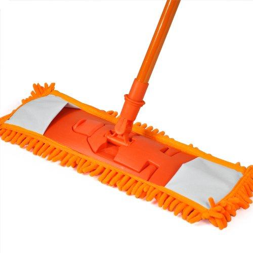 Accessotech, Mikrofaser-Bodenwischer, ausziehbar, für Holzlaminat / Fliesen, Nass- und Trockenwischen Orange