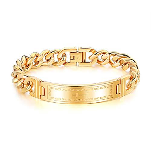 Roestvrij stalen Chunky Chain Armband voor heren, corrosiebestendigheid en hoge temperatuur, 11mm breedte, 21 cm Kettinglengte, verkrijgbaar in twee kleuren