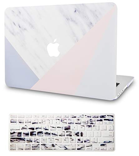 KECC Laptop Case for MacBook Pro 13' (2020) w/Keyboard Cover Plastic Hard Shell A2289/A2251 Touch Bar 2 in 1 Bundle (White Marble with Pink Grey)