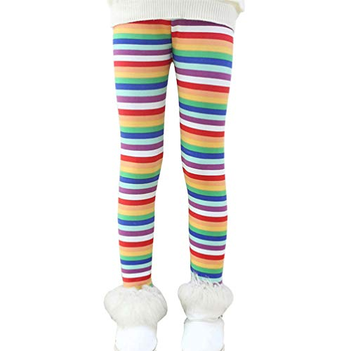 Ugitopi Mädchen Winter Dicke Warme Lange Hosen Druck Fleece Gefüttert Leggings Rainbow 100