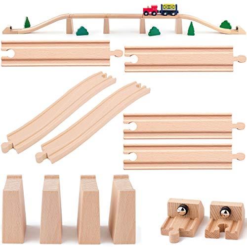 XL Set: 4 Brückenpfeiler & 2 Magnet Endstücke / Sperren + 2 Rampen + 4 gerade Schienen - Holz - für Eisenbahn / Holzeisenbahn - passend für alle Schienen-Syst..