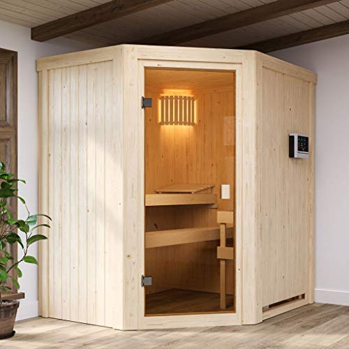 KARIBU. Woodfeeling Aktions Sauna Faurin (inkl. 9 kW Saunaofen integrierte Steuerung)