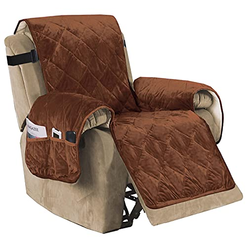 Luxury Velvet Plush Large Width Recliner Chair Cover with Straps Three Pockets, Dog Couch Covers for Armchair Seat Width Up to 28