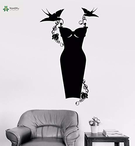 YIYEBAOFU baby's muurstickers straatkaarten, vinyl wandtattoo zwarte jurk mode fantasie vogel trekken bloemenmeisjes kamer kunst decoratie stikken