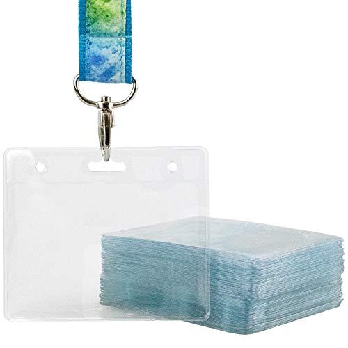 Fundas para tarjetas de identificación de plástico transparente, 50 unidades, color incoloro 90 x 60