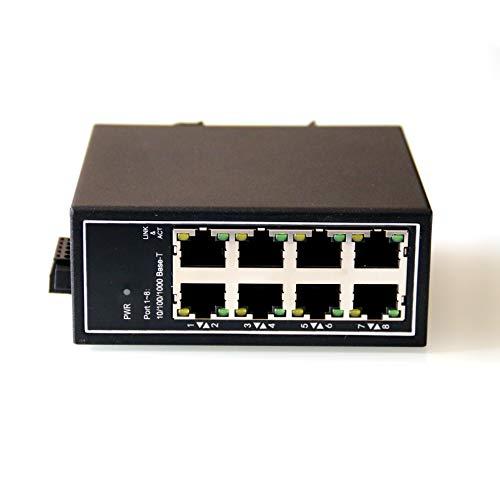 WIWAV WDH-8GT-DC 10/100/1000Mbps Switches Ethernet industriales Gigabit de 8 Puertos no administrados con riel DIN/Montaje en Pared (Certificación UL, sin Ventilador, -30°C ~ 75°C)