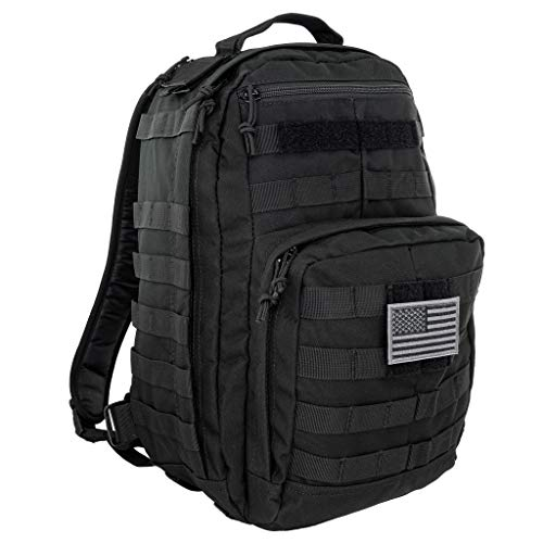 LINE2design First Aid Trauma Backpack - EMS Equipment Emergency Medical Supplies Tactical Molle Bag - Heavy Duty Sports Outdoor Rescue Pack - Perfect for Camping Hiking Trekking - Black