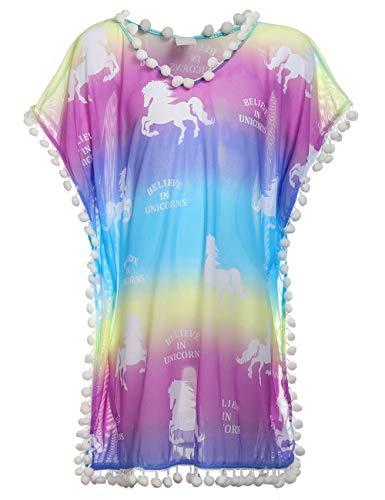 DUSISHIDAN Mädchen Strandkleid Bikini Cover Up Sommer Quaste Strandponcho mit Kleiner Wollball Einheitsgröße für 7-13 Jahre alt, Pferd(7-13 Jahre Alt), Einheitsgröße