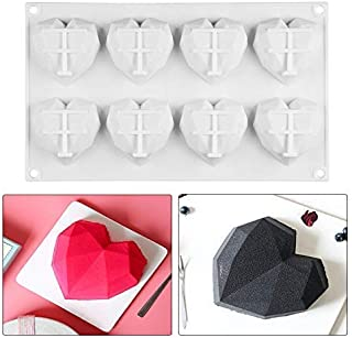 StyleZ 8-Cavity Diamond Chocolate Mold Silicone Dessert Non Stick Mould Jelly Ice Cube Trays Candy Bread Soap Muffin Baking Cake Mold Valentine`s Day gifts
