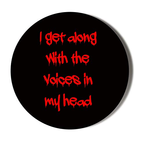 Humour - Abrebotellas magnético de 58 mm, diseño con texto 'I GET Along with The Voices in My Head'