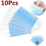 10 Stück Einweg OP-Maske Gesichtsmaske 3-lagig Mundschutz Staubschutz Infektionsschutz Schutzmaske Atemschutzmaske mit Ohrschlaufen schützt vor Verschmutzungen (Blau) (10)
