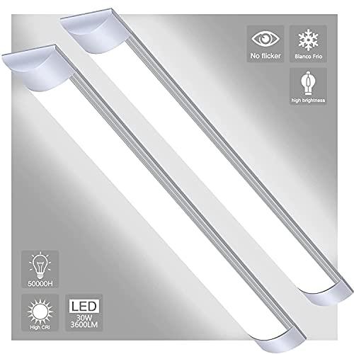 AYIYUN Tubo Fluorescente LED, 2 Piezas, 30W Lampara Super Brillante 3600 LM Lámpara, Blanco Frio 6000K Luminaria de Taller Plafón Pantalla Led Luz de Techo para Armarios, Cocina, Oficina, Balcón