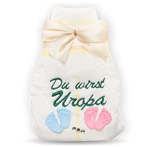 Vas a UEuropa, pañales bordados, crema, embarazo, anuncio a abuelos, embarazo, UEuropa, serás un regalo para el nacimiento del padre.